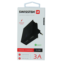 SWISSTEN ŁAD SIEC 2xUSB SMART IC 3A BLACK