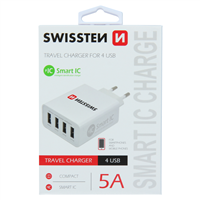 SWISSTEN ŁAD SIEC 4xUSB SMART IC 5A WHITE