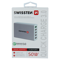 SWISSTEN ŁAD SIEC QC3.0 SMART IC 5xUSB 50W WHITE