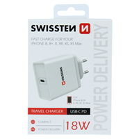 SWISSTEN ŁAD SIEC USB-C 18W PD 3.0 BLACK IPHONE